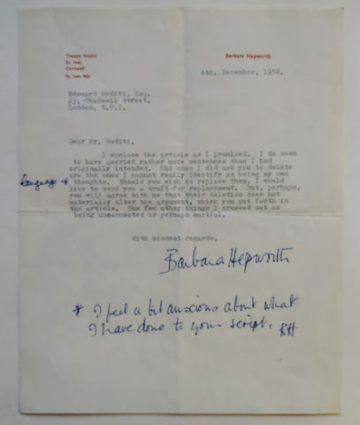 Barbara Hepworth - BARBARA HEPWORTH Typed Letter Signed TO EDOUARD RODITI