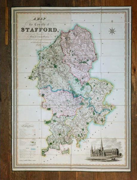 A Map of the County of Stafford Divided into Hundreds & Parishes, From an Accurate Survey, Made in the Years 1831 & 1832 and published by Henry Teesdale, 1832.