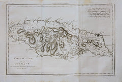 Rigobert Bonne & Guilleme Raynal - Jamaica map: Carte de l'Isle de la Jamaique by Rigobert Bonne & Guilleme Raynal, 1780