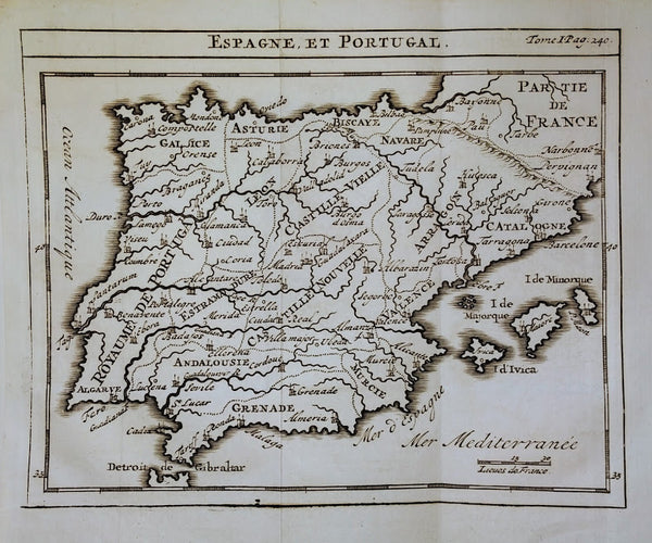 Spain & Portugal Map: Espagne et Portugal by Guillaume De L'Isle, 1743