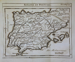Guillaume De L'Isle - Spain & Portugal Map: Espagne et Portugal by Guillaume De L'Isle, 1743