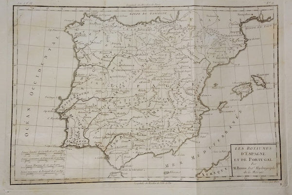 Spain and Portugal Map: Les Royaumes D'Espagne Et De Portugal by Rigobert Bonne, 1780.