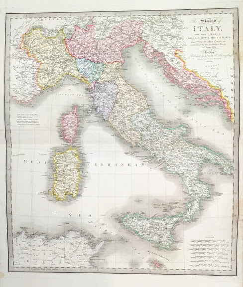 The States of Italy with their Islands, Corsica, Sardina, Sicily and Malta, describing the New Limits as confirmed by the Definitive Treaty of Paris, 1815 by James Wyld, 1829.