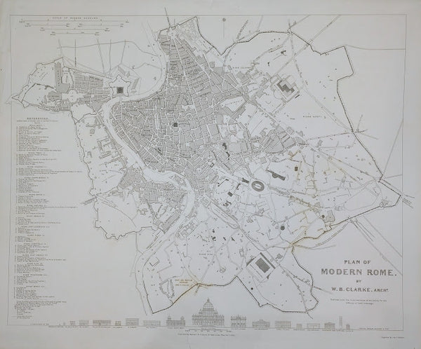 Plan of Modern Rome: Published under the Superintendence of the Society for the Diffusion of Useful Knowledge. Drawn by W.B. Clarke, Architect, 1830.