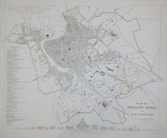 W.B Clarke - Plan of Modern Rome: Published under the Superintendence of the Society for the Diffusion of Useful Knowledge. Drawn by W.B. Clarke, Architect, 1830.