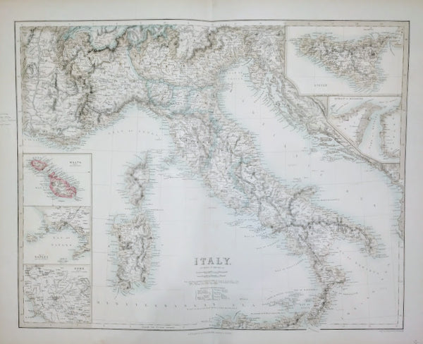 Italy According to Kiepert &c, published by A Fullarton, engraved by E Swanston, 1858.