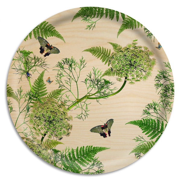 Dill Natural Round Chinoiserie Tray: Large