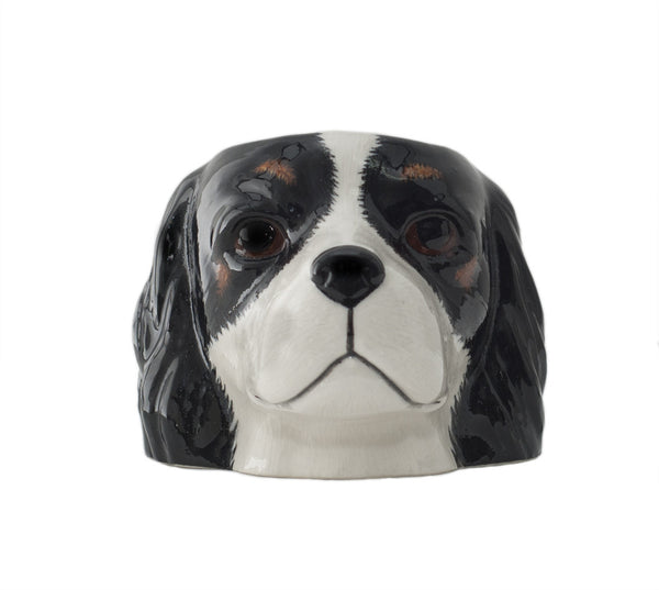 Cavalier King Charles Face Egg Cup: Tricolour