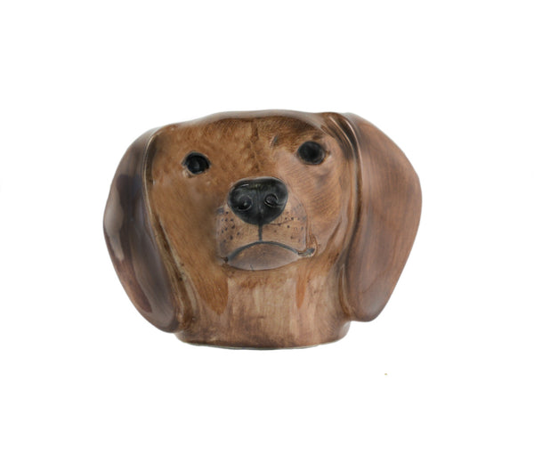 Dachshund Face Egg Cup: Red