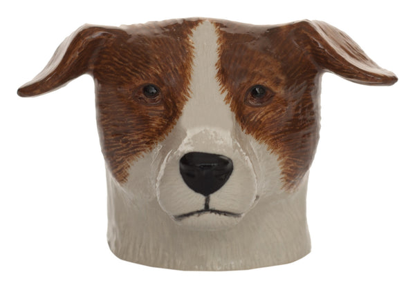 Jack Russell Face Egg Cup: Brown & White