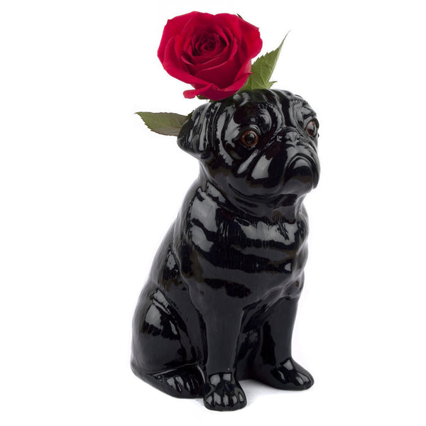 Black Pug Table Flower Vase