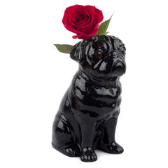 Quail - Black Pug Table Flower Vase
