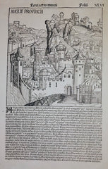Martin Wohlgemut - Anglie Provincia: An original woodcut from The Liber Chronicarum (Nuremberg Chronicle) by Martin Wohlgemut, 1493.