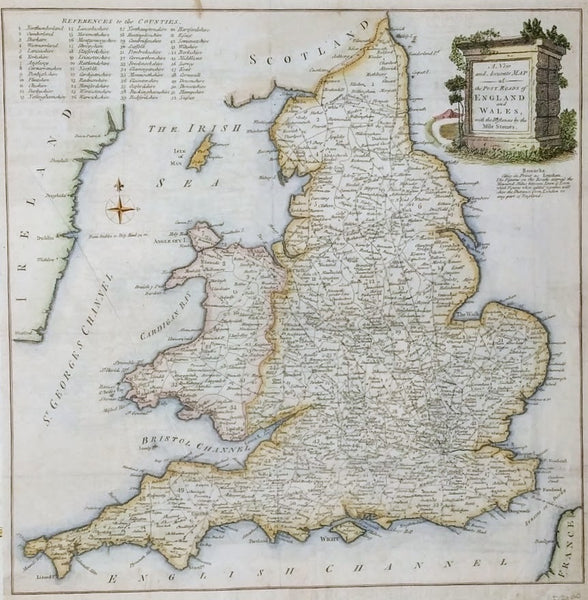 A New and Accurate Map of the Post Roads of England And Wales with the Distances By The Mile Stones c.1780