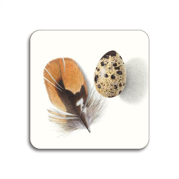 Special Edition Menagerie Coaster: Feather and Egg: White