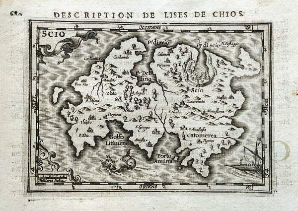 Greece: Chios: Scio: Description de L'Isles de Chios by Petrus Bertius & Jodocus Hondius, 1618.