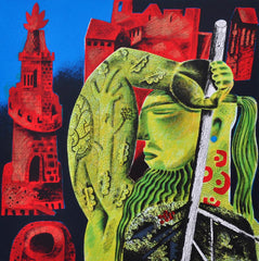 Clive Hicks-Jenkins - The Green Knight Arrives
