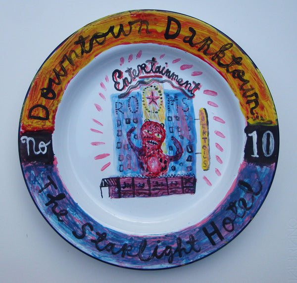 Painted Enamel Plate: The Starlight Hotel