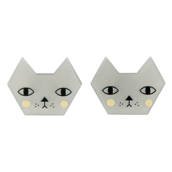 Faces Cat Stud Earrings
