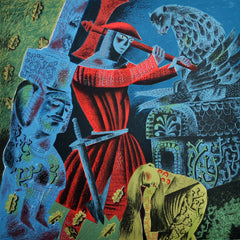 Clive Hicks-Jenkins - The Green Knight Bows to Gawain's Blow