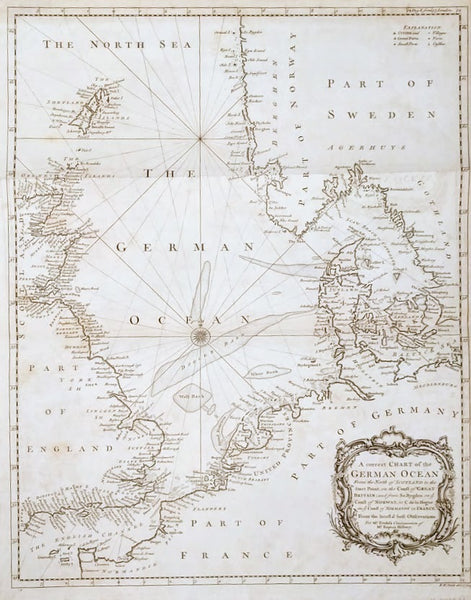 A Correct Chart Of The German Ocean From The North Of Scotland... For Mr Tindal's Continuation of Mr Rapin's History