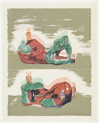 Two Reclining Figures With Striped Background