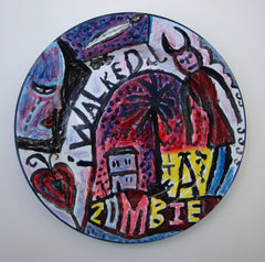 Jonny Hannah - Painted Enamel Plate: I Walked With A Zombie