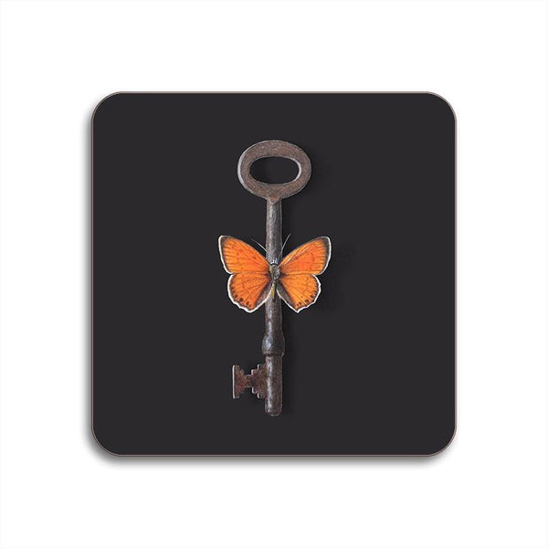 Special Edition Menagerie Coaster: Key And Butterfly: Black