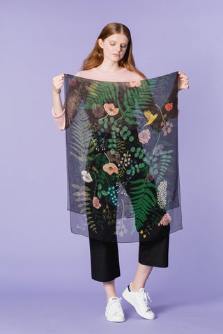 Karen Mabon Accessories - Fallen Flowers Silk Georgette Scarf