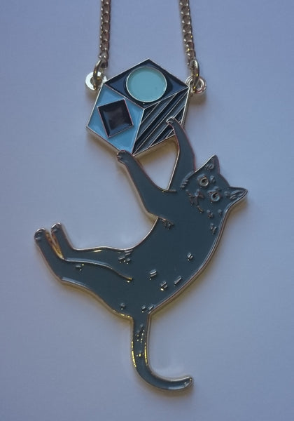 Swinging Cat Necklace: Grey