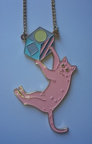 Swinging Cat Necklace: Pink