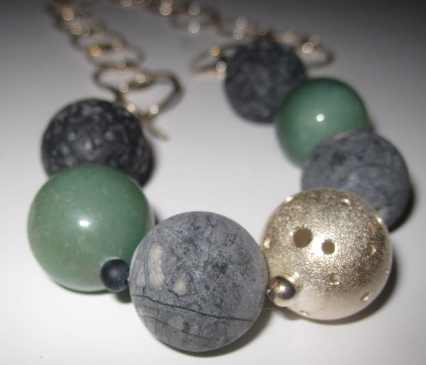 Callisto Picasso Jasper And Aventurine Six Stone Necklace With Sterling Silver Bead