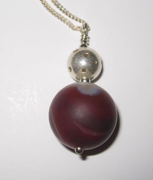 Callisto Red Jasper Pendant Necklace With Sterling Silver Chain
