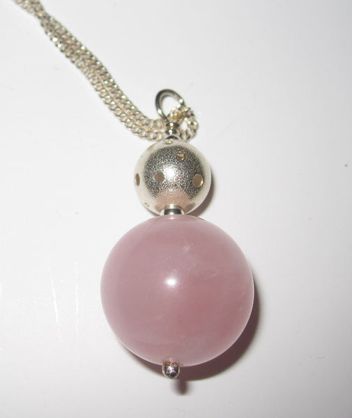 Callisto Rose Quartz Pendant Necklace With Sterling Silver Chain