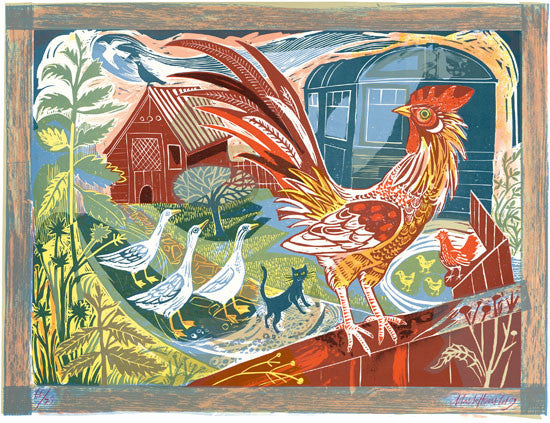 Rooster and Railway Carriage