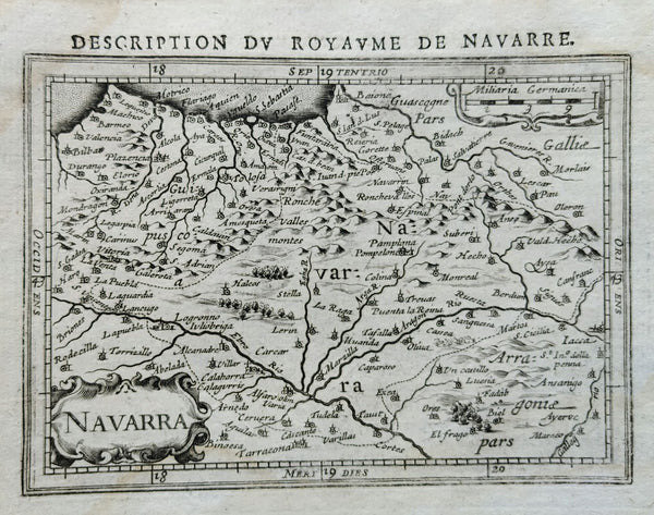 Spain: Navarre: Navarra: Description du Royaume de Navarre by Petrus Bertius & Jodocus Hondius, 1618.