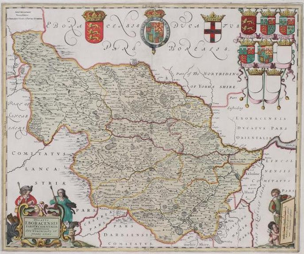 The West Riding of Yorkshire Map 1705 by Gerard Valk & P Schenk
