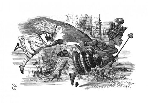 Sir John Tenniel for Lewis Carroll - 'Now! Now!' cried the Queen. 'Faster! Faster!'