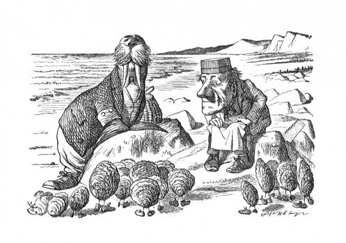 'But wait a bit,' the Oysters cried, 'Before we have our chat...'