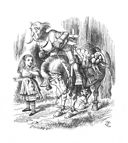 Sir John Tenniel for Lewis Carroll - 'Whenever the horse stopped (which it did very often), he fell off in front'