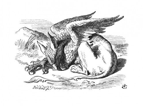 'They very soon came upon a Gryphon lying fast asleep in the sun.'