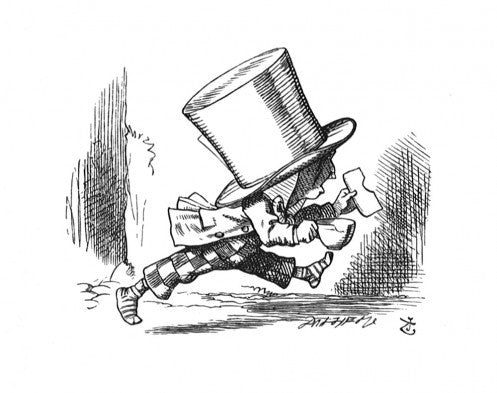 '...the Hatter hurriedly left the court...'