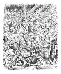 Sir John Tenniel for Lewis Carroll - 'The ground was soon covered with little heaps of men'