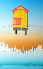 Michael Papworth - Yellow And Pink Beach Huts, Wells