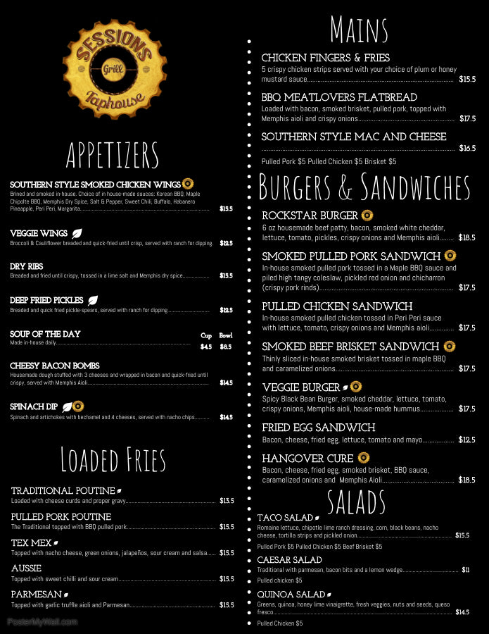 Sessions Taphouse and Grill Menu