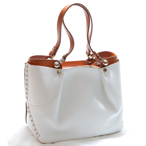 White and cognac calf leather shoulder bag