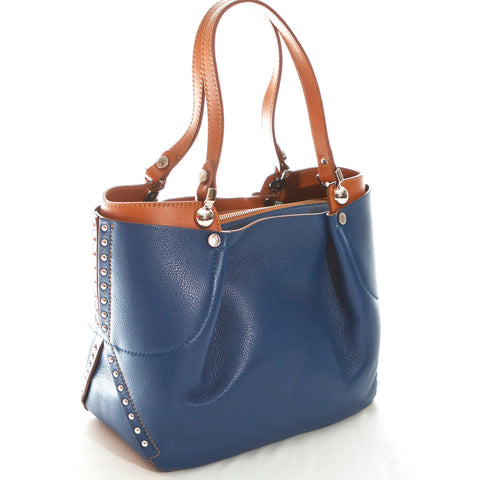 Navy blue and cognac shoulder bag