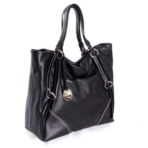 Black textured leather tote