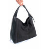 Grey leather and nubuck hobo