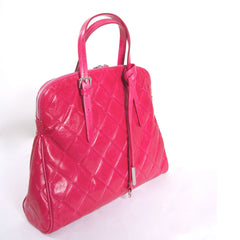 Italian bag, Leather tote women, Leather ladies Clutch, Italian dress shoes women, Stylish open toe boots, Formal leather sandals, Made in Italy outlet, Crystal belts women, Fuchsia quilted leather grab bag (Medium)